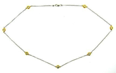 GORGEOUS 14k Yellow & White Gold & Diamond Necklace