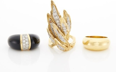 Gold, Diamond and Onyx Ring, Diamond Ring and Band Ring