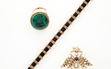 Gold, Enamel, Black Onyx, Diamond and Sapphire Insect Brooch, Bracelet and Malachite Ring