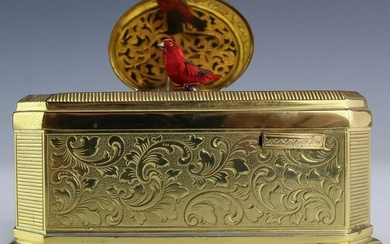 Gold Gilt Musical Singing Bird Automaton Box
