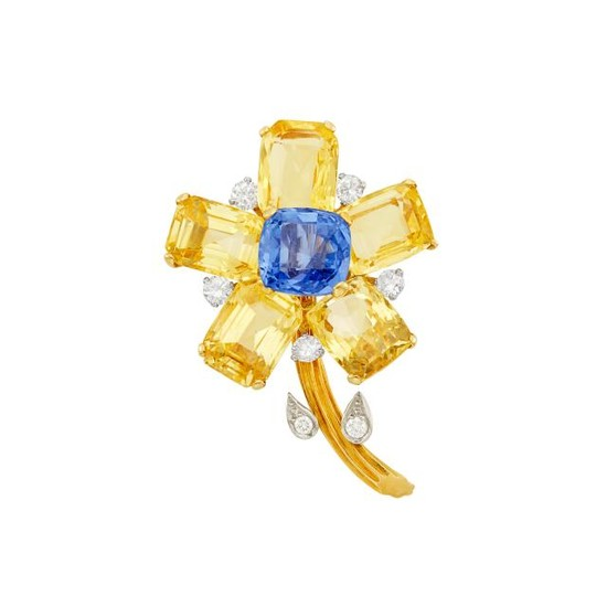Gold, Platinum, Yellow Sapphire, Sapphire and Diamond Flower Brooch