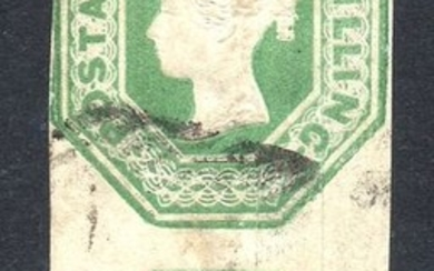 Great Britain - England 1847 - QV 1/- Green Embossed Vertical Pair - Stanley Gibbons 55