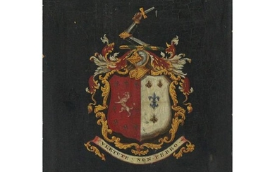 Hand Painted Coat of Arms on Wood Vertute Non Ferro