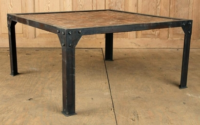 IRON COFFEE TABLE PARQUET TOP ANTIQUE WOOD