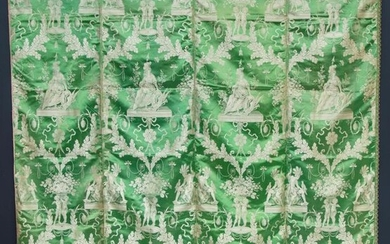 Important replica of the Four Parts of the World hanging, supplied by the merchant Michel to the Garde-meuble in 1784, rewoven by the Grand Frères factory in Lyon, first half of the 19th century, lampas edged with green satin background, silver...