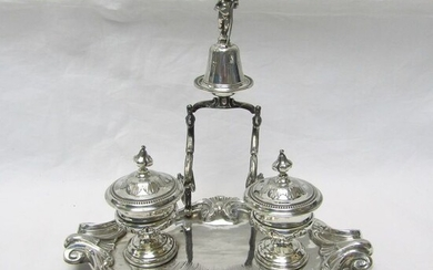 Inkstand, Desk Set - .950 silver - 370 gr. - France - Mid 19th century
