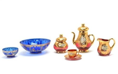 Italian Enameled and Gilt Glass Demitasse Set with