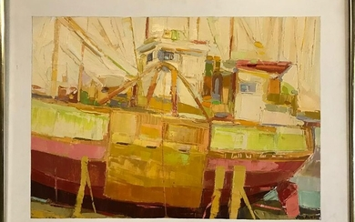 John Black, Boat at Dock, Oil on Canvas
