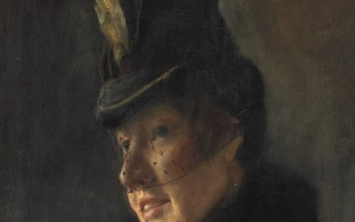 L. A. Ring: Portrait of a young woman in coat with fur collar and hat with veil. 1886. Signed L. A. Ring. Oil on cardboard. 31×25 cm.