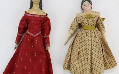 LOT OF PAPIER MACHE, WAX DOLLS.