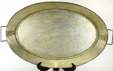 Large Oval Galvanized Metal Serving Platter / Tray