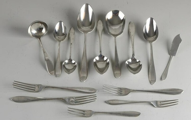 Lot of silver cutlery, 833/000, model Point fillet with