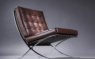 Ludwig Mies van der Rohe, 'Barcelona Chair', lounge chair, brown leather