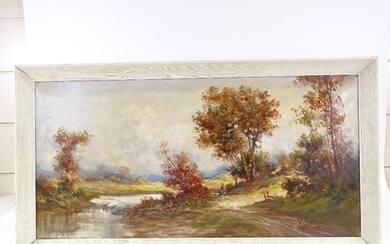 Mid-20th century oil on canvas, rural landscape, indistinctl...