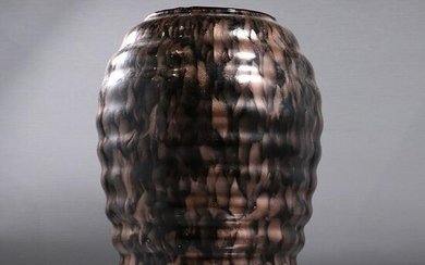 Mid-Century Modern Ripple Pattern Glass Vase Gold Dust
