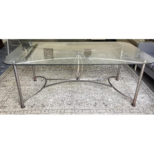 Modern dining table, the rectangular glass top with rounded ...