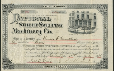 National Street Sweeping Machinery Company, New Jersey, $50 shares, Camden 18[88], #182, unique...