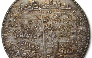 Netherlands - Spanish Netherlands - 52mm medal 1594 by G van Bylaer: siege & capture of Groningen by prince Maurice - AR commemorative medal, one of the finest known - Silver