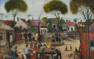 PRO HART (1928-2006) The Barbeque 1984 oil on canvas