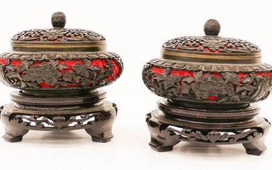 Pair Chinese Two-Color Cinnabar Covered Jars on Stands