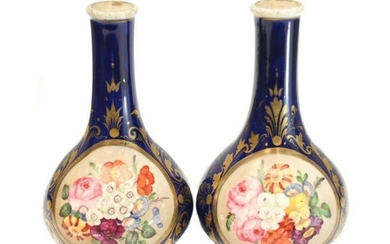 Pair Paris Porcelain Hand Painted Miniature Bud Vases
