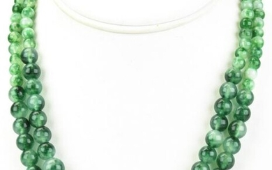 Pair White & Green Jade Bead Necklace Strands