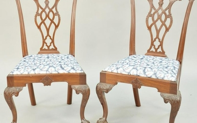 Pair of Charles Post Custom Mahogany Chippendale Style