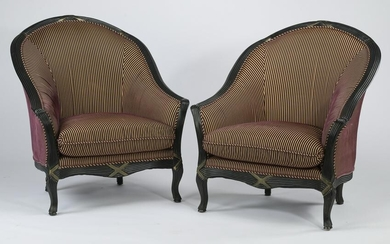 """Pair of Empire style striped tub chairs, 43""""h"""