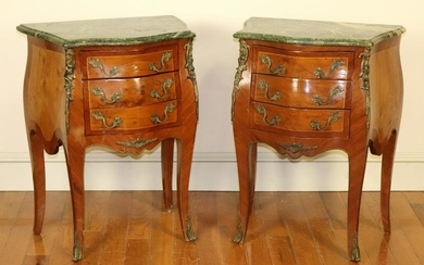 Pair of French Marble Top Bombe Chests