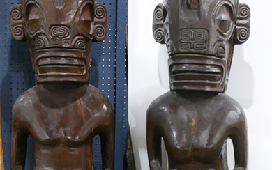 Pair of Polynesian Marquesas Islands style standing figures