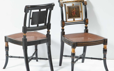 Pair of Regency Ebonized, Polychrome-Decorated and Parcel-Gilt Side Chairs