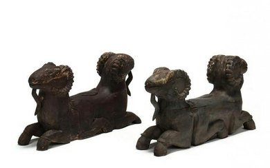 Pair of Southeast Asian Carved Double Headed Rams