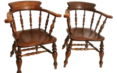Pair of Victorian ash and elm club chairs
