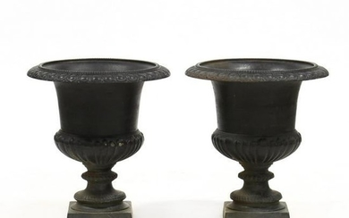 Pair of Vintage Cast Iron Classical Style Large Garden