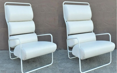 Pair of White Mid Century Leatherette Lounge Chairs