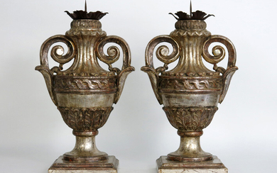 Pair of antique baroque style candelabra in the shape of urn shaped vases with handles - in polychromed wood and wrought iron - height : 55 cm|||pair of antique baroque style candelabra in the shape of vases in polychromed wood and wrought iron