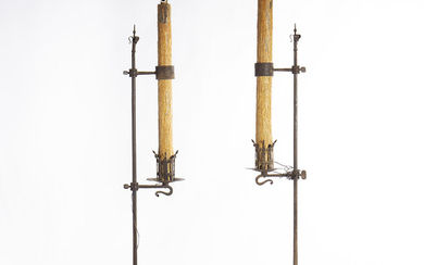 Pair of floor candle holders in iron, probably Catalan, 19th Century.