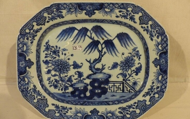 Blue and white porcelain dish from China. Period: 18th century....