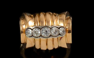 RING ANNEES 1940 in 18K pink gold and platinum with...