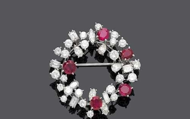RUBY AND DIAMOND BROOCH, BY E. MEISTER, ca. 1960.