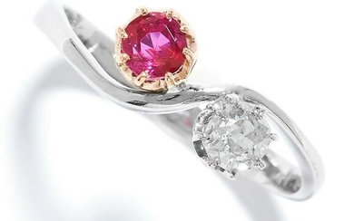 RUBY AND DIAMOND TOI ET MOI RING set with a round cut