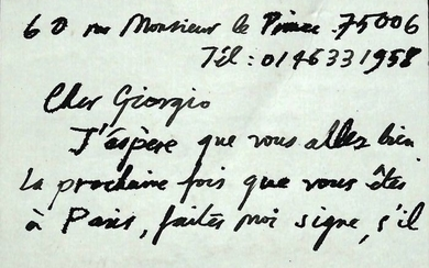 Raymond Mason Sculptor - Autograph; Letter on an Interesting Exhibition at the Maillol Museum in Paris - 1995/2005