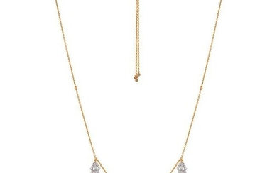Real 1.25 TCW SI/HI Baguette Diamond Necklace 18kt gold