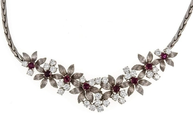 Ruby and brilliant necklace WG 750/000 with round