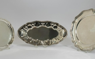 STERLING & SILVER PLATE SALVERS, 3 PCS