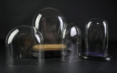 Set Of Four Glass Domes (2 With Bases)