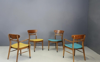 Set of 4 Mid Century American dining chairs in wood &