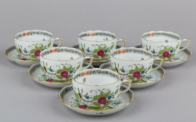 Set of Six Herend Indian Basket Multicolor Tea Cups