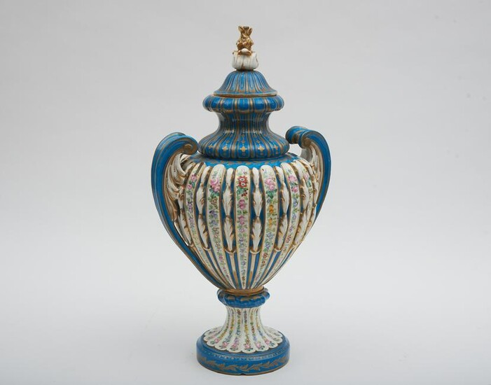 Sevres Floral Decorated Lidded Urn Height: 19 1/2
