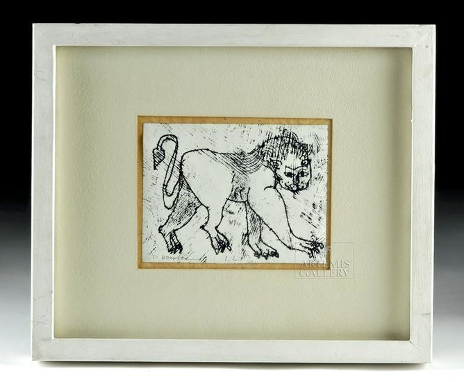 Signed Peter Brandes Monotype Drawing of Tiger, 1990
